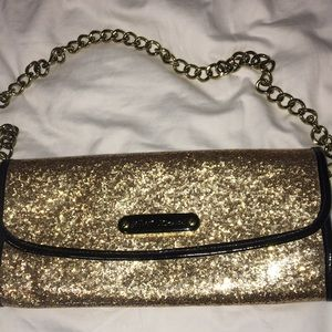 Gold glitter Betsey Johnson clutch
